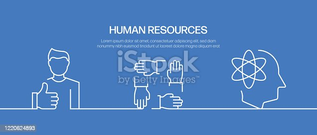 Human Resources Vector Banner Design Concept. Outline Line Icon Vector Illustration Template for Websites, Presentation etc.