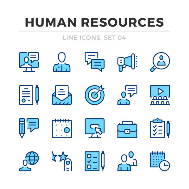 인적 자원 벡터 라인 아이콘을 설정 합니다. 얇은 라인 디자인. 그래픽 요소, 간단한 스트로크 기호를 간략하게 설명 합니다. 인적 자원 아이콘 - 인원 stock illustrations