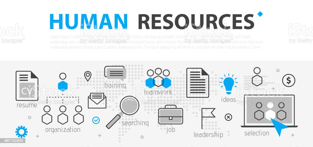 Human Resources Web Banner Concept Outline Line Business Icon Set Hr