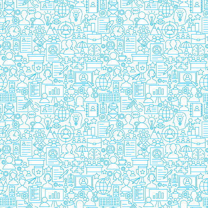 Human Resources White Line Seamless Pattern clipart