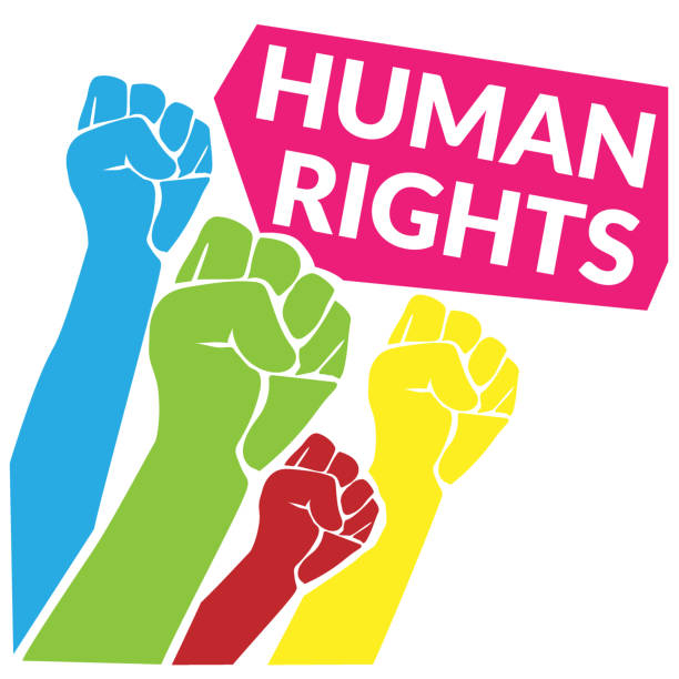 Human Rights concept. colorful of human fist hand raise up to the sky with quotes tag Human Rights. vector illustration Human Rights concept. colorful of human fist hand raise up to the sky with quotes tag Human Rights. vector illustration equality stock illustrations