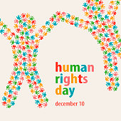 Colorful Handprints composition in people shape for the Human Rights Day on December 10