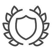 Human rights emblem line icon. Lawyer shield in laurel wreath. Jurisprudence vector design concept, outline style pictogram on white background, use for web and app. Eps 10.
