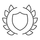 Human rights emblem thin line icon. Lawyer shield in laurel wreath. Jurisprudence vector design concept, outline style pictogram on white background, use for web and app. Eps 10.