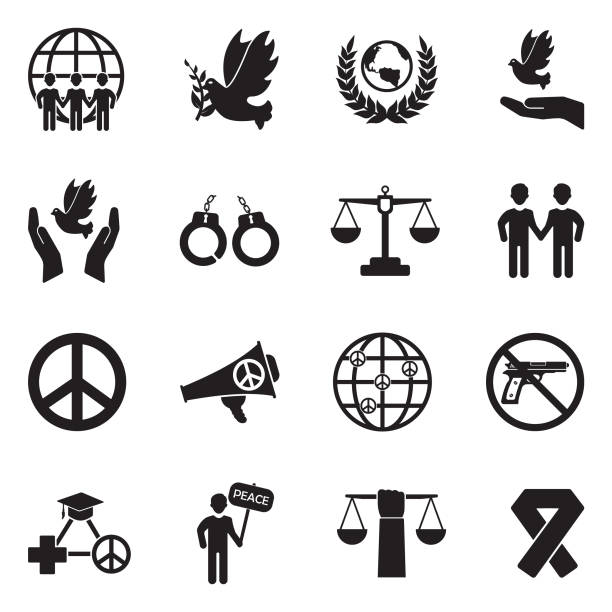 Human Rights Icons. Black Flat Design. Vector Illustration. vector art illustration
