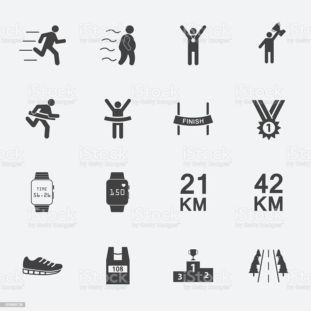 Humain icône set.vector course. - Illustration vectorielle