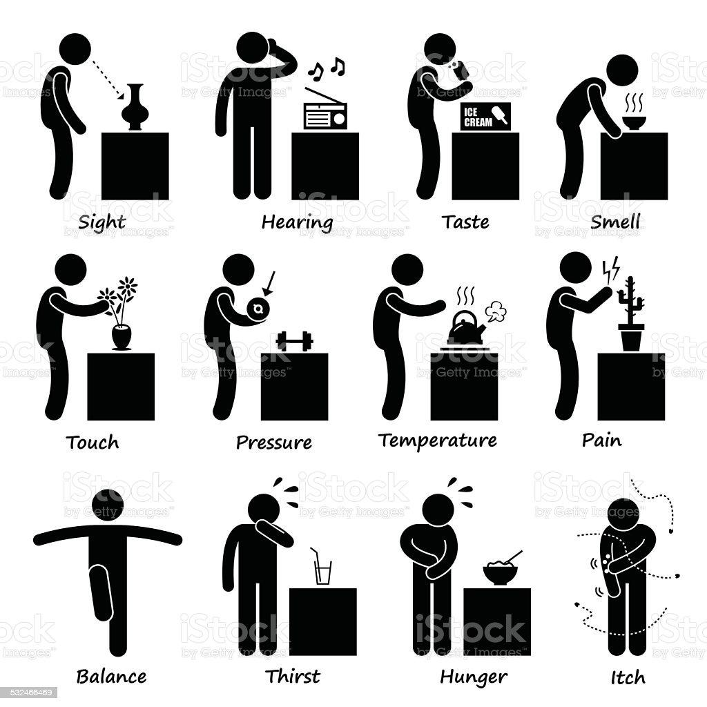 Human Senses Stick Figure Pictogram Icons vector art illustration