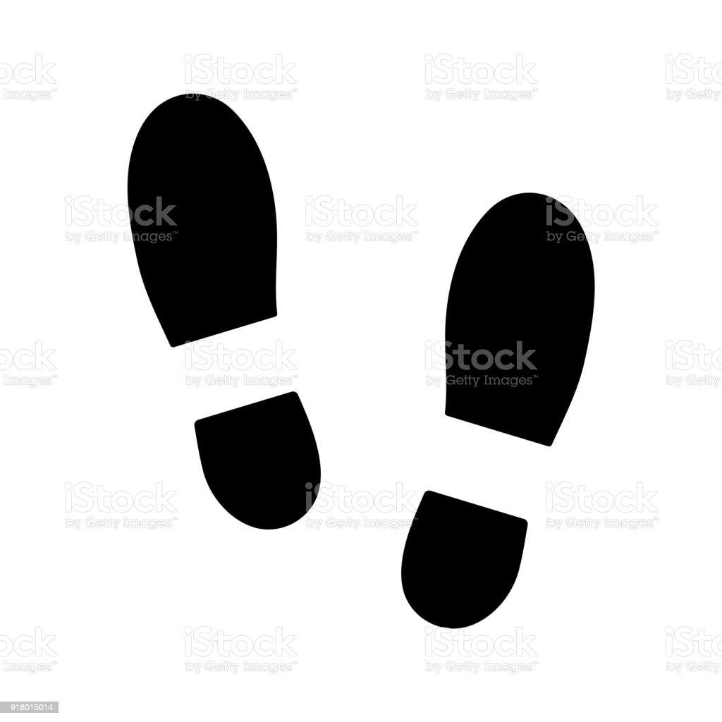 Human shoe footprint icon. Vector footwears. Flat style. Black silhouettes