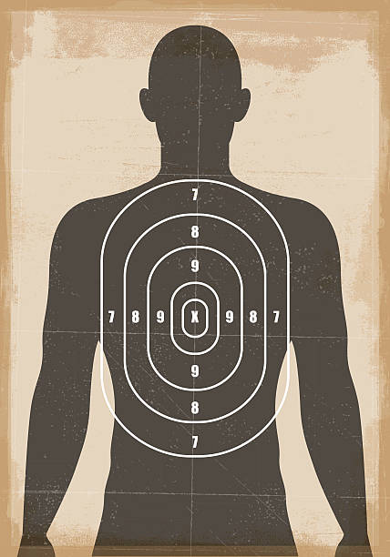stockillustraties, clipart, cartoons en iconen met human shooting target - gun shooting