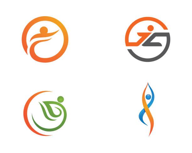 illustrazioni stock, clip art, cartoni animati e icone di tendenza di human logo sign - fisioterapia