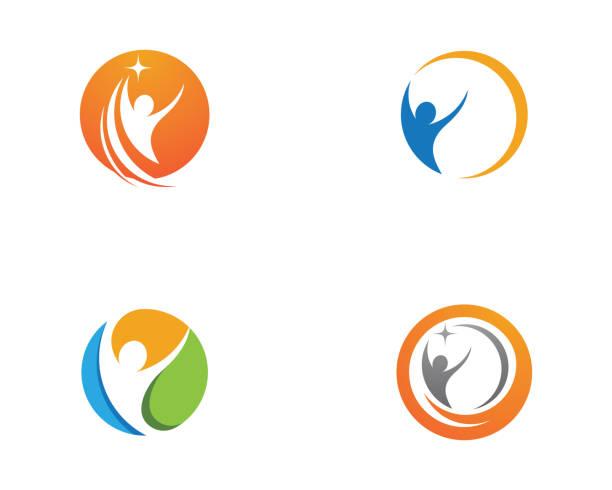 menschliches logo zeichen - sportmedizin stock-grafiken, -clipart, -cartoons und -symbole