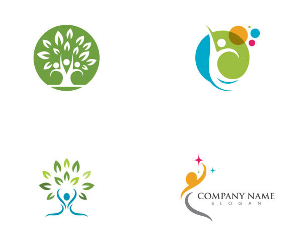 human logo sign - wellness stock illustrations