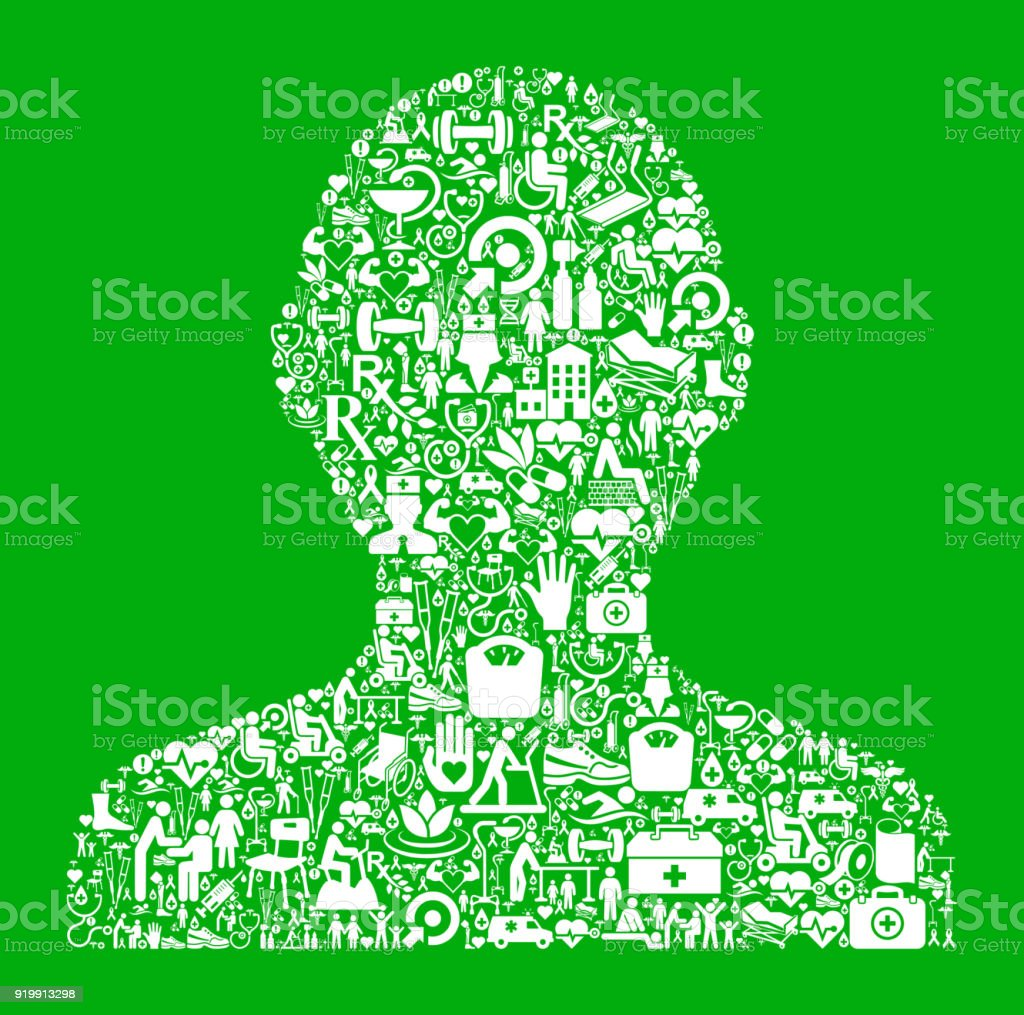 Human Silhouette Green Medical Rehabilitation Physical Therapy vector art illustration