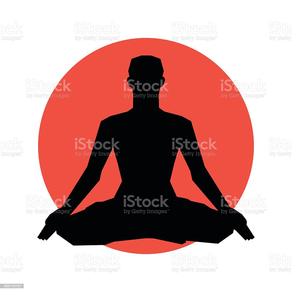 Human Silhouette In Yoga Pose Vector Illustration Background Royalty Free