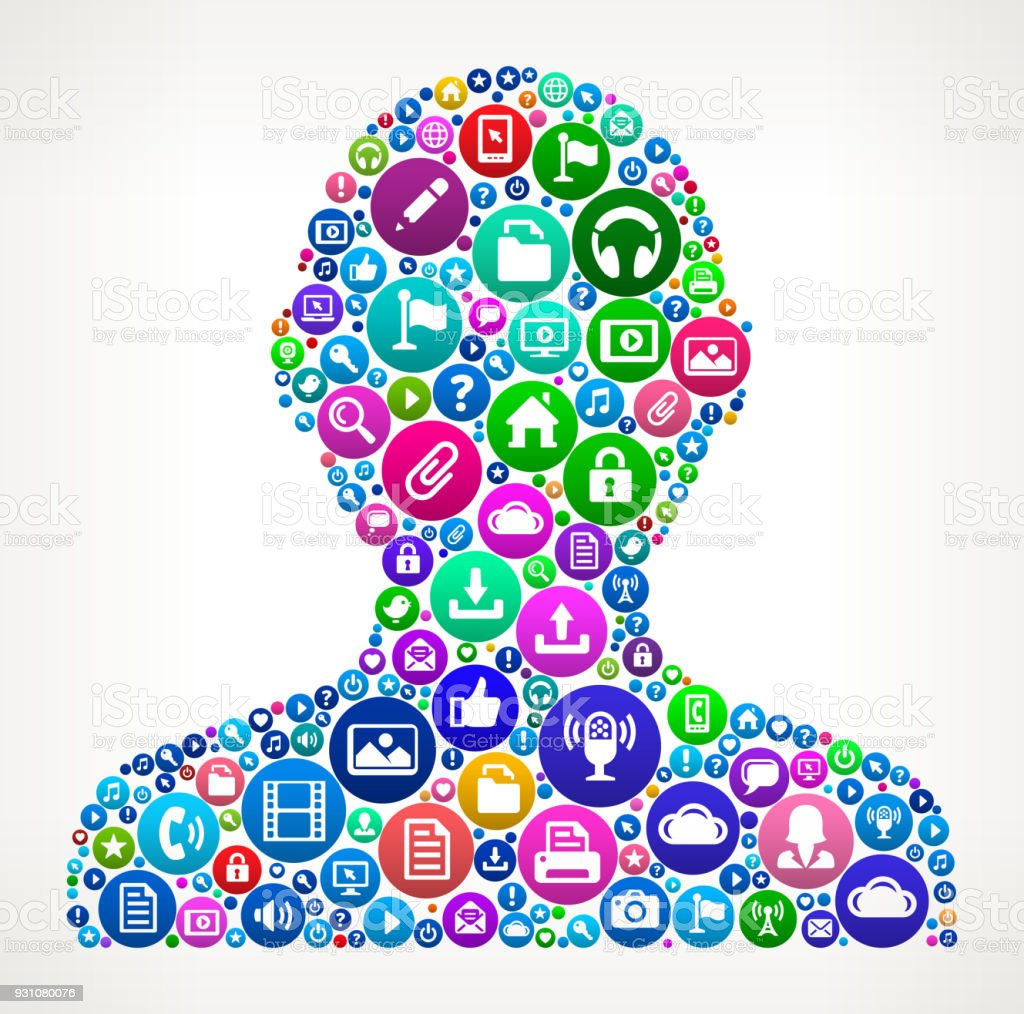 Human Silhouette Internet Communication Technology Icon Pattern vector art illustration