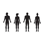 Human silhouette male and female, man and woman realistic black isolated vector icon set
