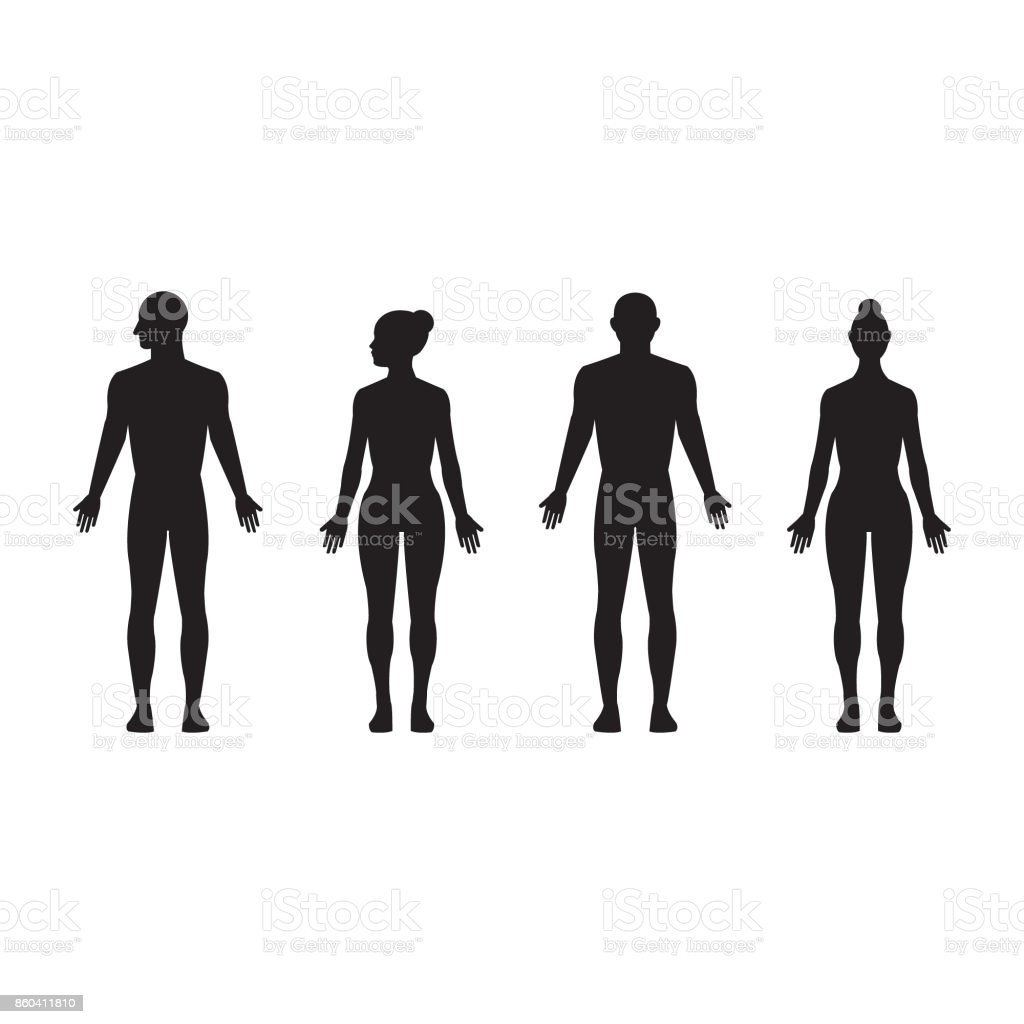 Human silhouette male and female, man and woman realistic black isolated vector icon set vector art illustration
