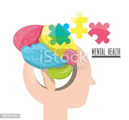human silhouette with abstrac brain puzzle, vector illustration