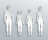 Human silhouettes. Man, Woman and Children paper outline
