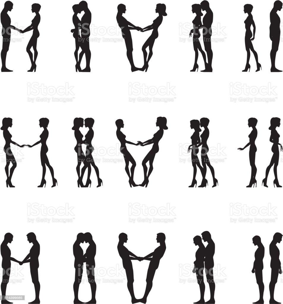 Siluetas de humanos - ilustración de arte vectorial