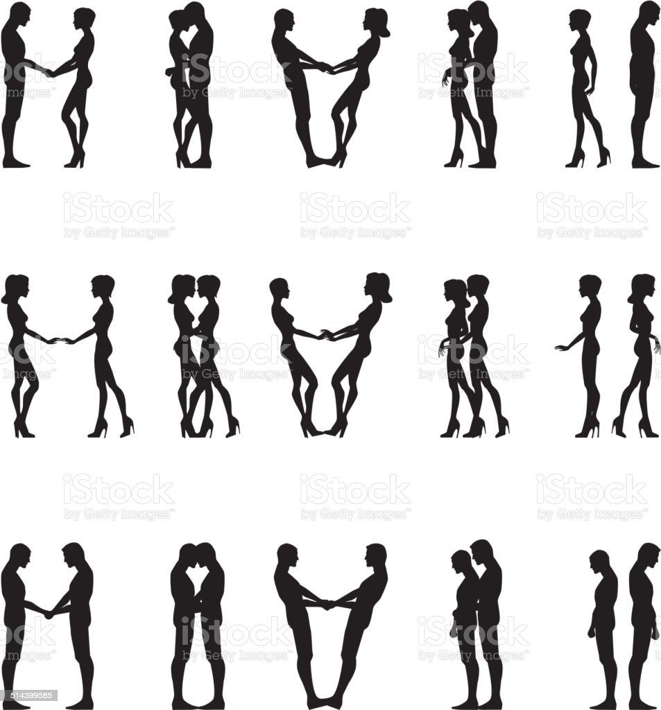 Human silhouettes vector art illustration