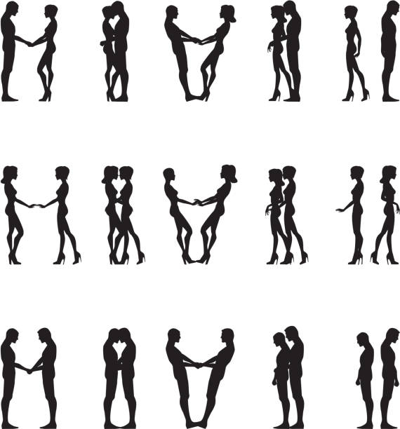 Human silhouettes history of love relationship same sex couples stock illustrations
