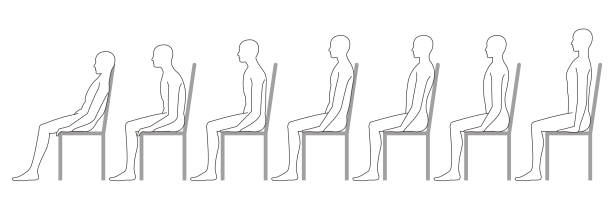 mensch auf einem stuhl sitzend. gute körperhaltung. schlechte haltung. - stuhllehnen stock-grafiken, -clipart, -cartoons und -symbole