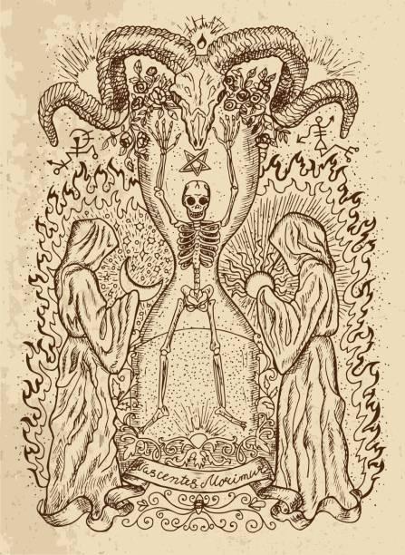 Human skeleton, monks, devils head and spiritual symbols on texture vector art illustration