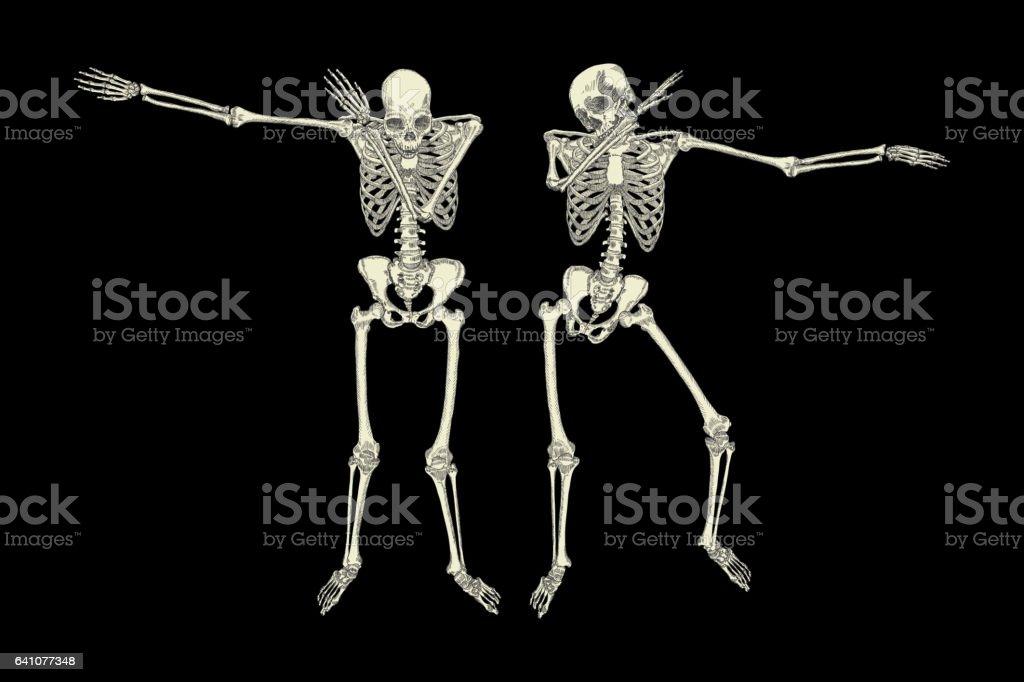 Human Skeletons Dancing Dab Like Friends Vector Stock Vector Art