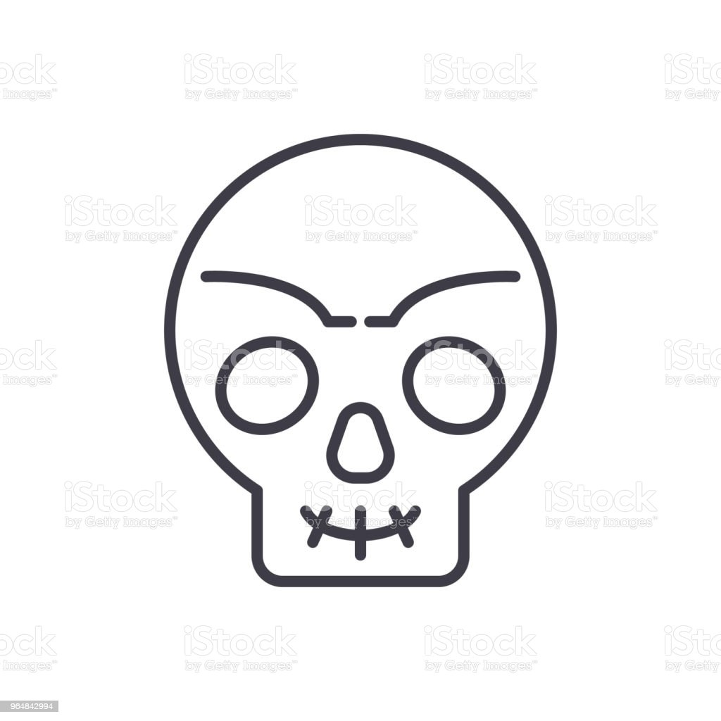 Human skull black icon concept. Human skull flat  vector symbol, sign, illustration. royalty-free human skull black icon concept human skull flat vector symbol sign illustration stock vector art & more images of anatomy