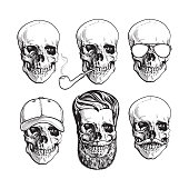 Human skull bones with sunglasses, beard, moustache, smoking pipe