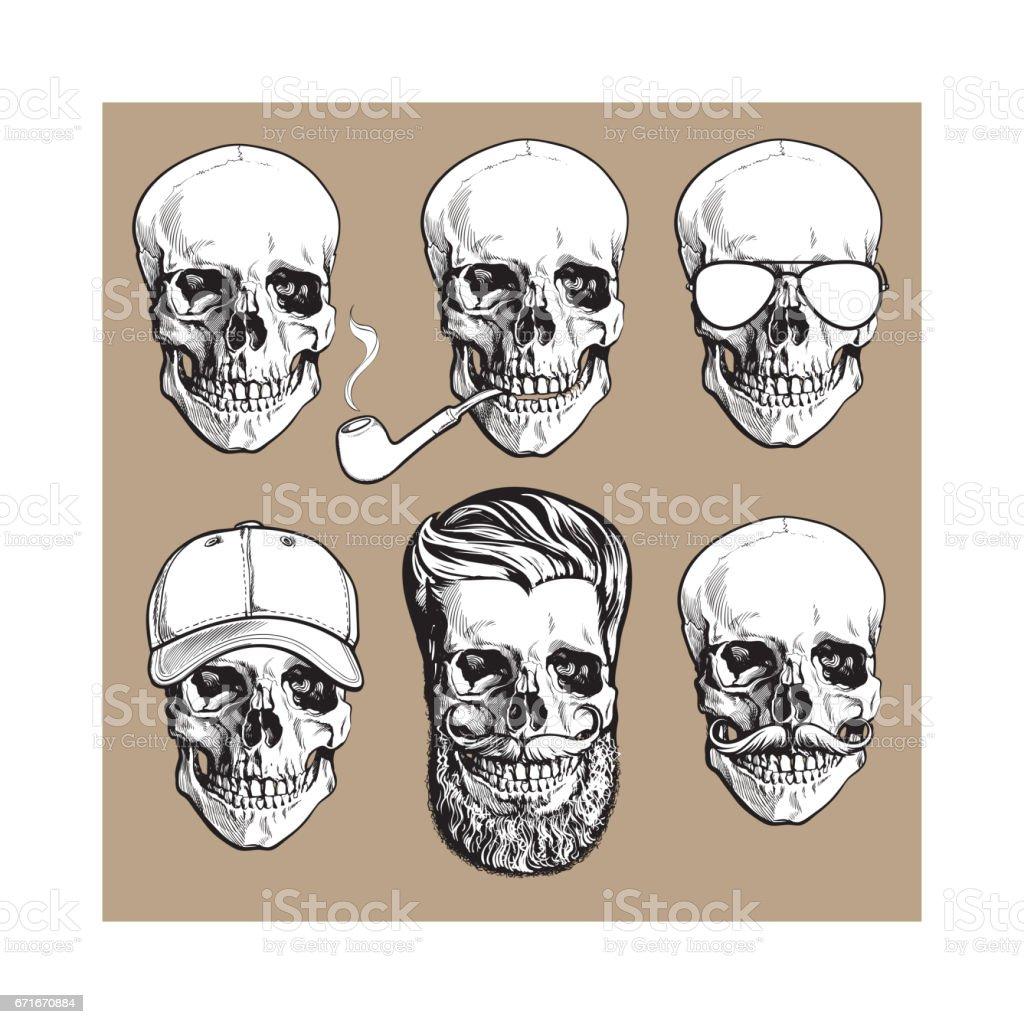 Ilustración de Huesos Del Cráneo Humano Con Gafas De Sol Bigote ...