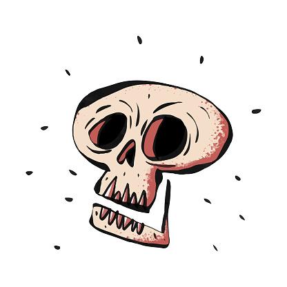 Human skull color illustration