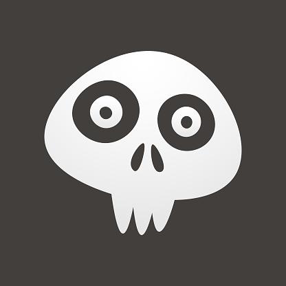 Human skull cute emoticon