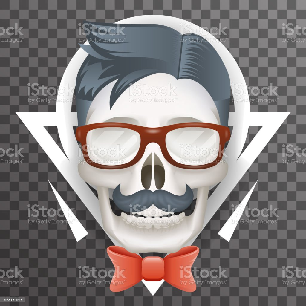 Human Skull Geek Hipster Fashion Poster Mustache Bow Glasses Realistic 3d Transparent Background Icon Template
