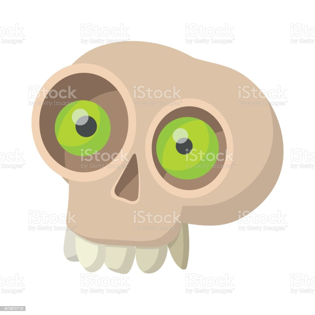 Human skull icon, cartoon style vector art illustration
