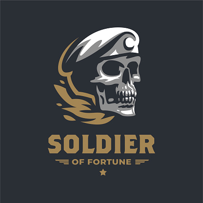 Human skull in a military beret.