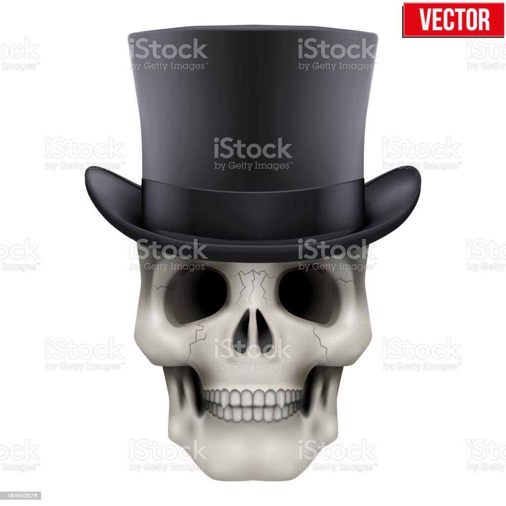 Human skull with black cylinder hat vector art illustration