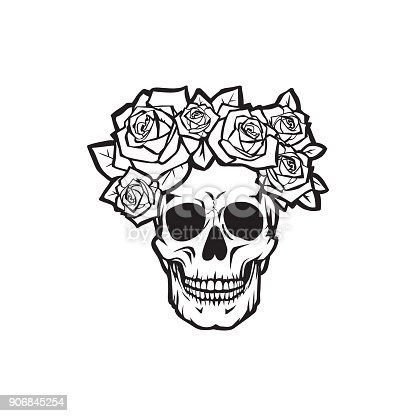 Human skull with  roses black and white