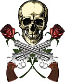 human skull with two guns and two red roses
