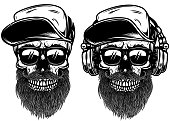 Human skulls with sun glases, baseball cap and headphones. Design element for label, emblem, sign.