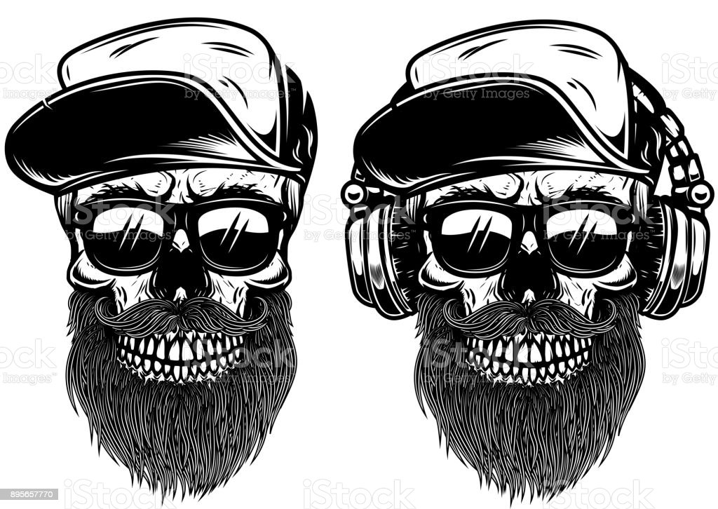 Human skulls with sun glases, baseball cap and headphones. Design element for label, emblem, sign. vector art illustration