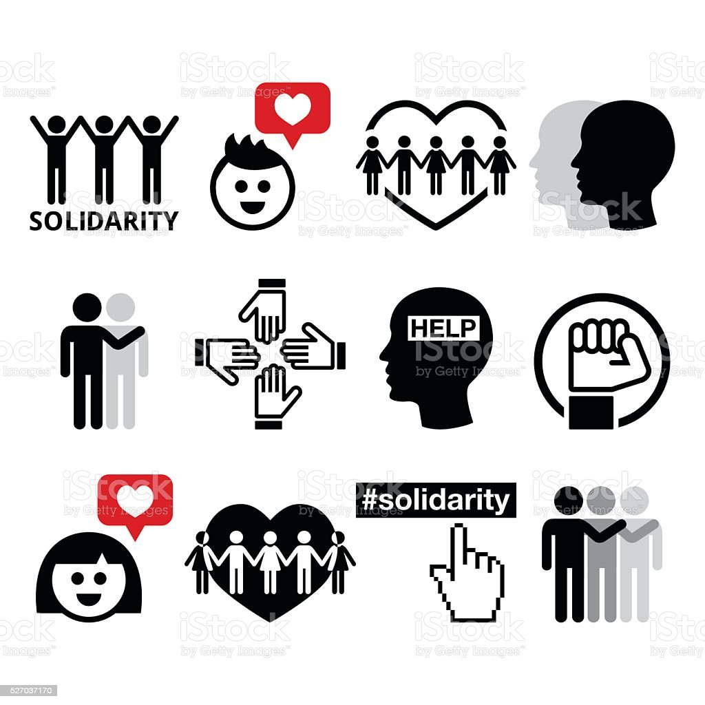 Human Solidarity icons, people helping each other design vector art illustration