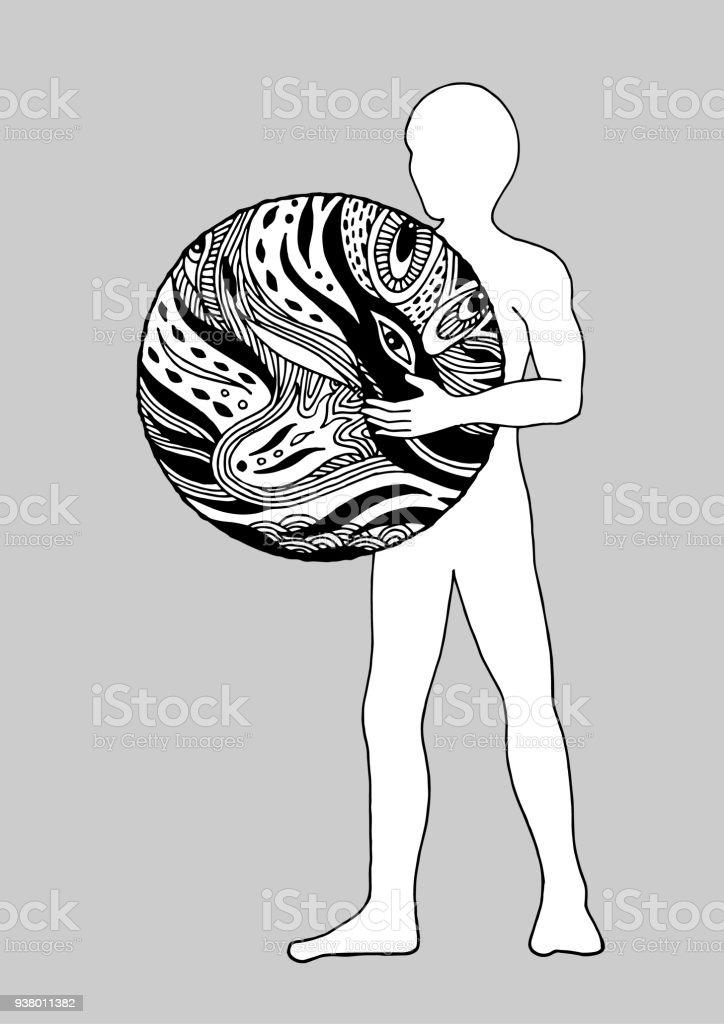 menschlichen stehende Holding Welt im Universum Vektor Illustration Design Handzeichnung – Vektorgrafik