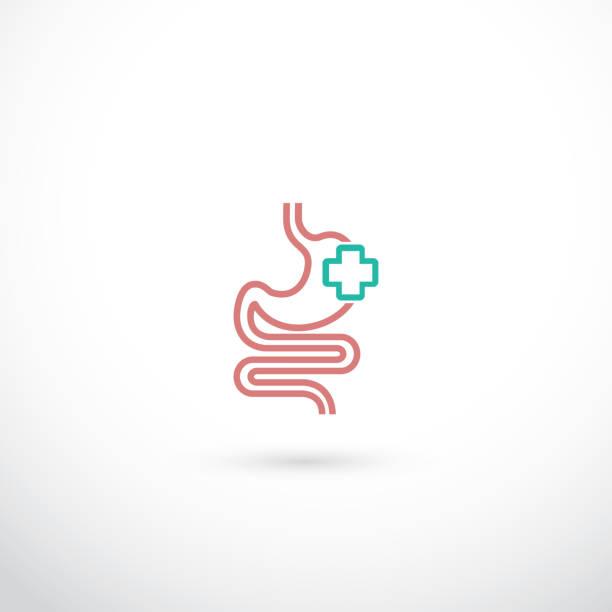 Human stomach symbol - vector illustration Human stomach symbol abdomen stock illustrations
