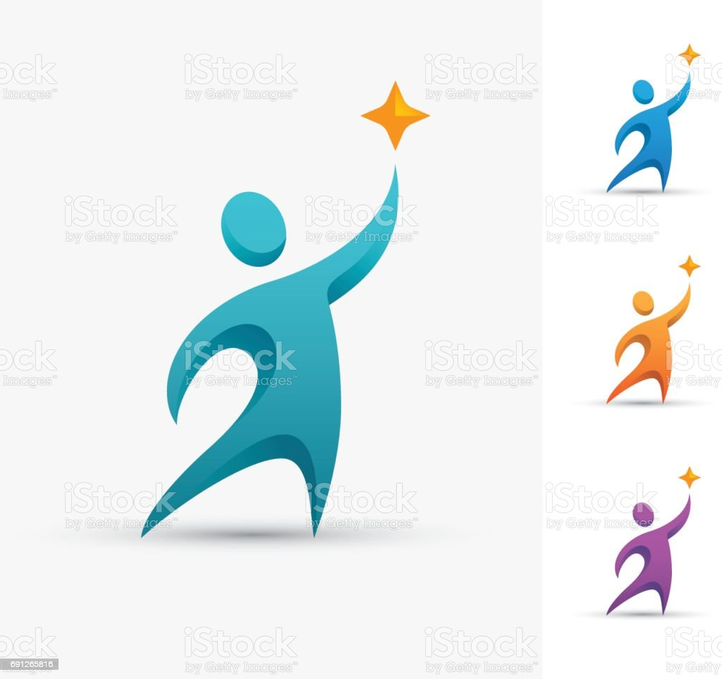 Human symbol with star. vector art illustration