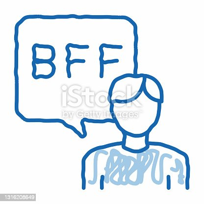 istock Human Talking Bff doodle icon hand drawn illustration 1316208649