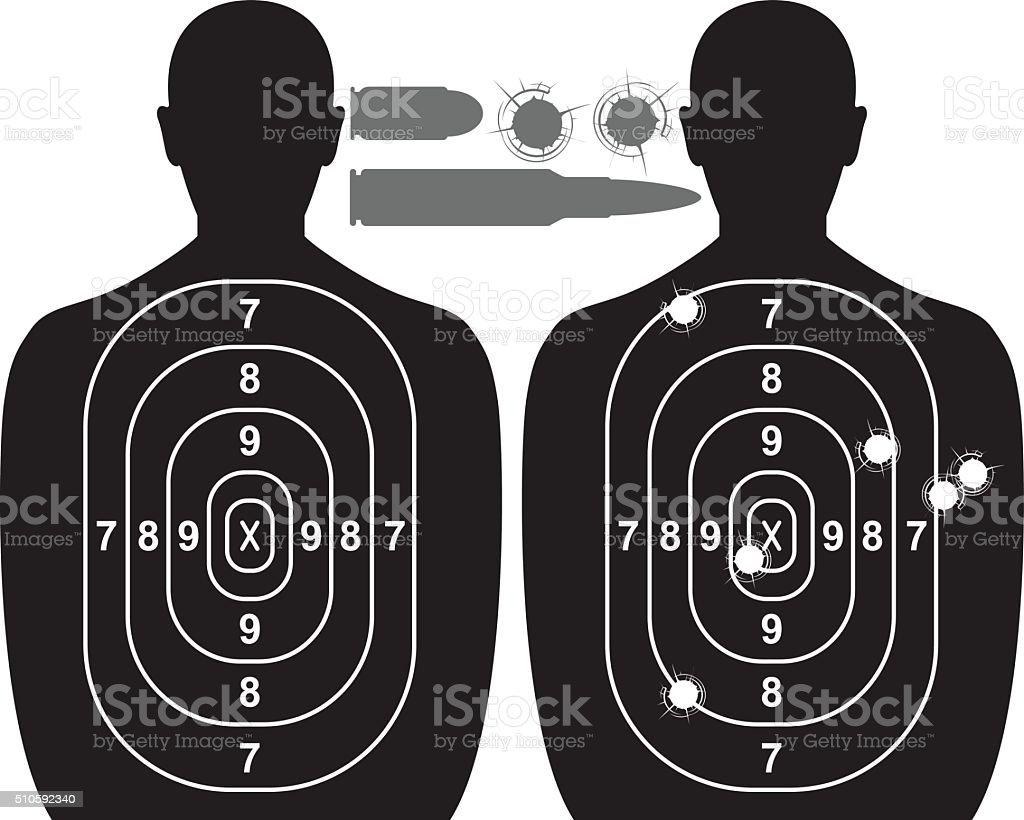 Human target, bullet holes and cartridge case vector art illustration