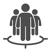 Human target team solid icon. Focus group and target audience symbol, glyph style pictogram on white background. Marketing targeting sign for mobile concept and web design. Vector graphics