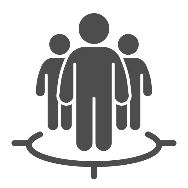 Human target team solid icon. Focus group and target audience symbol, glyph style pictogram on white background. Marketing targeting sign for mobile concept and web design. Vector graphics. Human target team solid icon. Focus group and target audience symbol, glyph style pictogram on white background. Marketing targeting sign for mobile concept and web design. Vector graphics business clipart stock illustrations